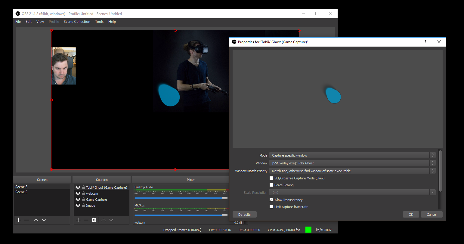 Enable the eye tracking overlay in your recording software